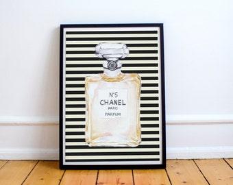 Chanel Perfume Bottle Kate Spade Inspired Beauty Room Digital Print Instant Download