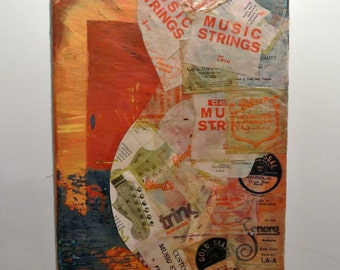 Vintage guitar string canvas