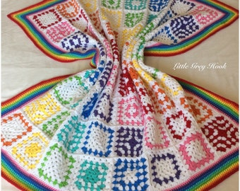 Beautiful and Colourful handmade crochet blanket 102cm x102cm