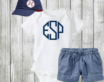 Baby Boy Monogrammed Onesie®/ Baby Boy Outfit/ Baby Boy Onesie®/ Personalized Clothing