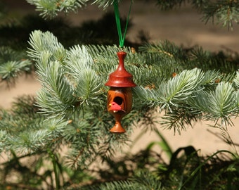 Bird House, Ornament, Woodturning, Home decor, Christmas, with Cardinal