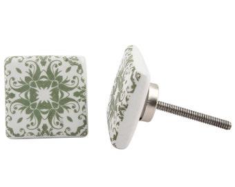 Square Green and White Moroccan Draw Knob /Drawer Pulls / Dresser Knobs / Wardrobe  Handles