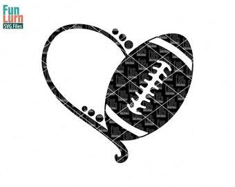 Football heart SVG,Football SVG, heart monogram frame ,Digital Cutting File, svg png dxf eps zip, svg file