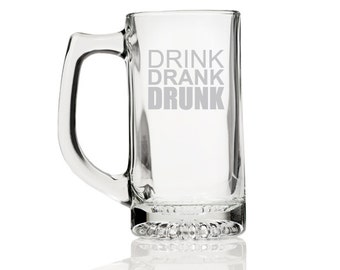 2 pcs Drink Drank Drunk - Engraved 13 oz. Beer Mug Glass (CM100-8)