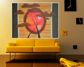 Sunset- 60x80 -free shipping- hand-painted