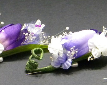 Set of 4 Boutonnireres in White and Purple