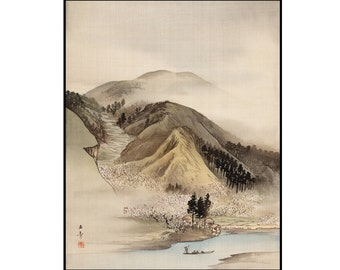 Mountain Landscape Print - Ink Drawing Print - Vintage Landscape Print - Japanese Art - Digital Download - Digital Print - Kawabata Gyokusho