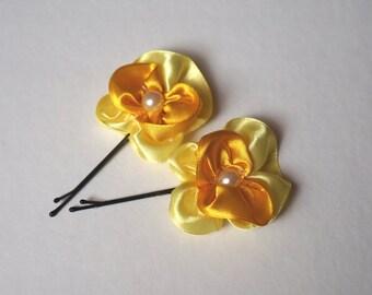 Satin Flower Hair Bobby Pin (Set of 2)