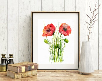 poppy watercolor print poppy plant print watercolor flowers floral red poppy decor wall art print kitchen botanical print painting poster