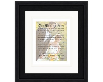embrace personalized wedding anniversary photo art print wedding vows printed on paper and framed custom keepsake gift