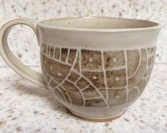 Handmade, porcelain-blend ceramic mug, hand carved pottery coffee mug