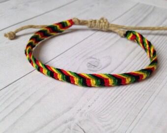 Rasta, Bob Marley Inspired, Macrame Hemp Friendship Bracelet