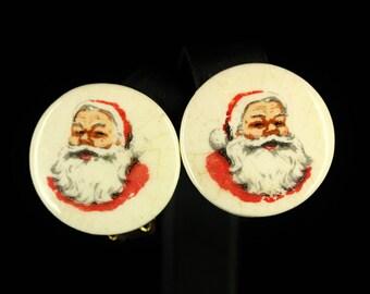 Vintage 1950s Christmas Earrings - 50's Santa Claus Clip On Earrings - Santa Earrings Retro, Mid Century Modern Christmas Jewelry Vintage