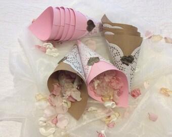 Wedding petal cones, confetti cones, rice cones