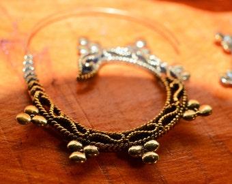 Tribal, Boho ,Festival ,Brass ,Spiral Earrings, pair