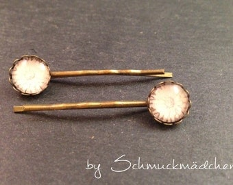 Hair clips bronze flower beige