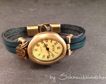 Watch leather bronze petrol
