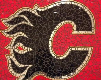 """Tile mosaic mural """"Calgary Flames"""""""
