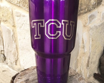 TCU Etch - NEW Authentic YETI or Ozark Rambler Custom Powder Coat Dipped - Purple