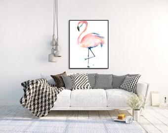 Framed Flamingo Watercolour Print
