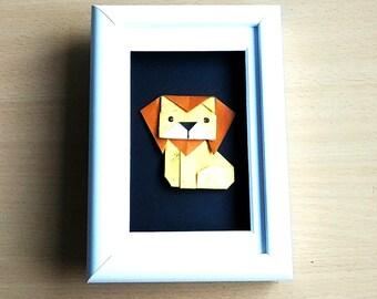 Origami Animal Framed Art - Lion, Nursery Decor.