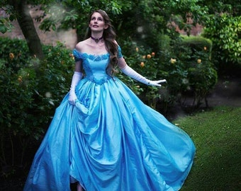 Pale blue taffeta floral off shoulder corset gown with flowers and butterflies - Celestrina