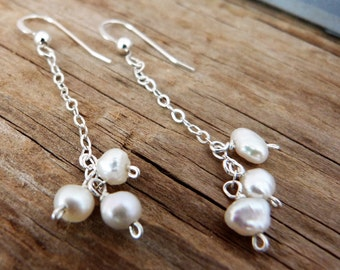 Sterling silver, freshwater pearl dangle earrings, june birthstone