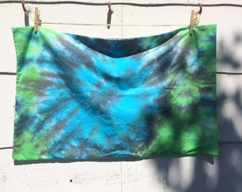 TWO Green/Blue/Black Tie Dyed Pillowcases | Standard Size