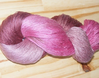 Silk lace weight yarn - pink and brown rose - hand dyed by Rouge Bobine