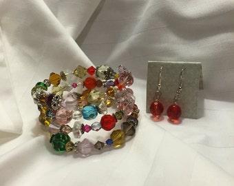 Bright Crystal Beaded Wrap Bracelet and Earrings