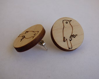 "Maple real wood earrings with engraving ""Bird"" (studs)"