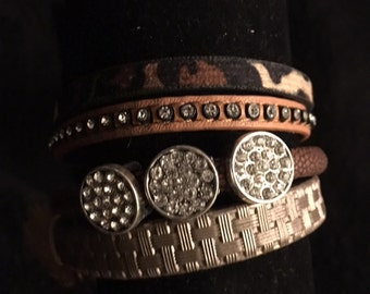 New Bling leather bracelet for work or play fits women and teens