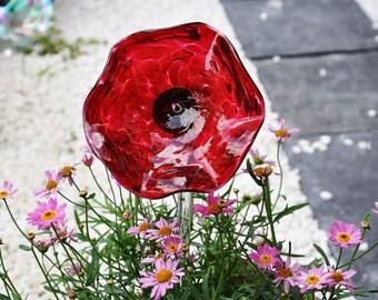Hand Blown Red Poppy Glass Flower