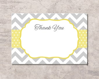 Yellow and Gray Chevron Thank You Card Printable, yellow dots, instant download digital file, girl boy baby shower bridal shower birthday