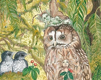 Gaurdian - Watercolor Painting Giclee canvas prints, owl forest fairies pixies fantasy art nature ferns birds moss children's