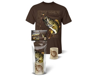 Follow the Action® Walleye Hunter T-Shirt and Koozie® Combo Gift Set