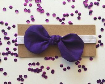 Knotted Fabric Bow with Headband - Dark Purple