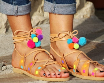 Sandals studded with pompons / POMPOM SANDALS / pompom tacks sandalias / Sandals summer 2016 / hippie sandals / colorful sandals