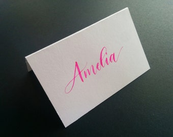 Hand Written place cards - bright pink ink - modern script