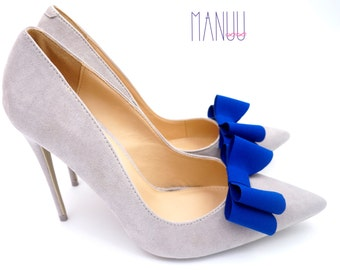 Cobalt blue bows - shoe clips Manuu, Wedding accessory, Bridal shoes