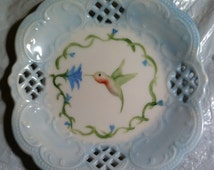 """hummingbird coaster plate 4 1/2"""" x 4 1/2"""" in blue or purple, great as a spoon rest"""