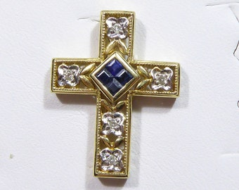 Vintage 14k yellow gold Cross pendant with Sapphire and Diamond