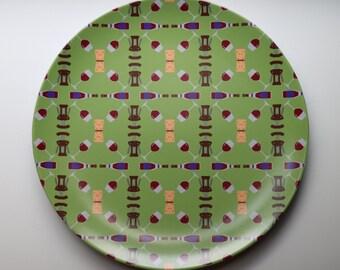 Wine 10'' Melamine Plate