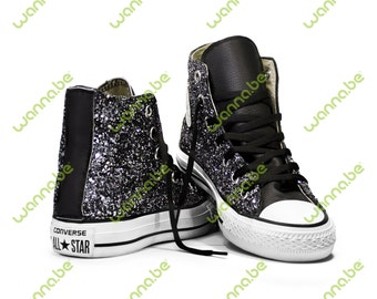 Black and Silver Converse Chuck Taylor All Star! Glittering Custom Shoes! Be Yourself, Free Yourself!