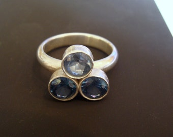 Sterling Silver Ring with Pale Blue Lab-made Aquamarine and Lab-made Zircon
