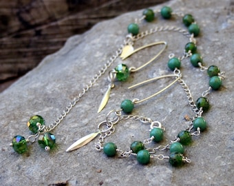 """Glass beads sterling silver """"Y"""" necklace and earrings set"""