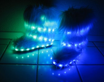 Custom Designed Hand Sewn Furry LED Light Boots with 45 LEDs