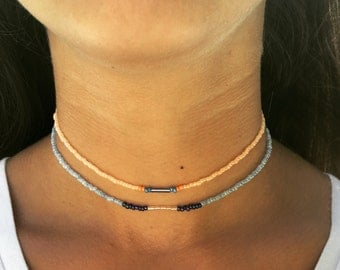 Two separate choker necklaces
