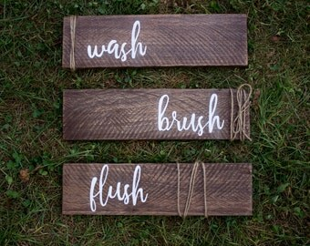 Wash Flush Brush Wood Signs - Bathroom Sign - Bathroom Decor - Wood Sign - Farmhouse Sign - Rustic Home Decor