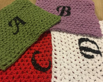 "Monogram Cotton Washcloth 7.5"" x 7.5"""